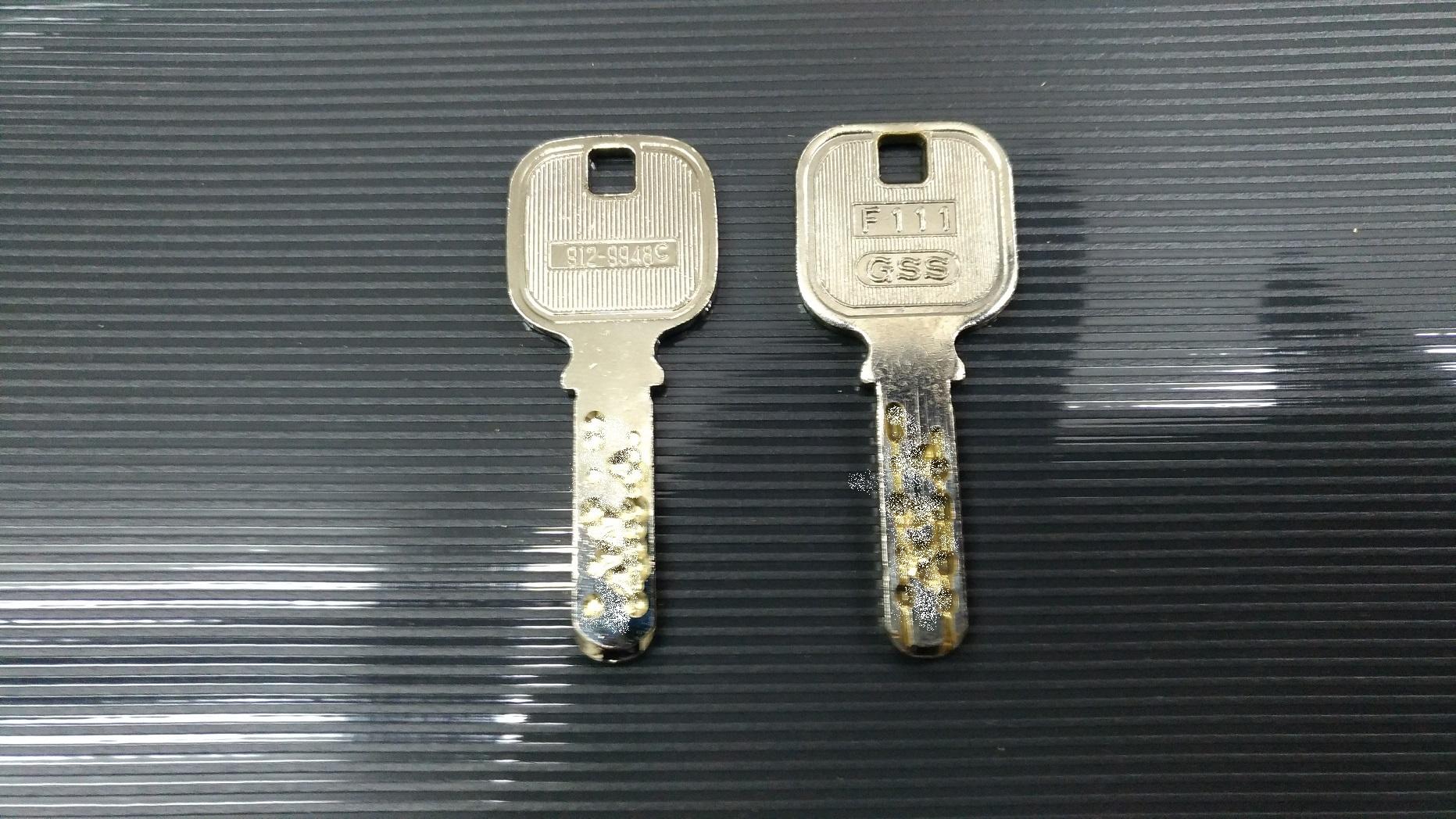 左がコード作製した合鍵、右がお客様の合鍵