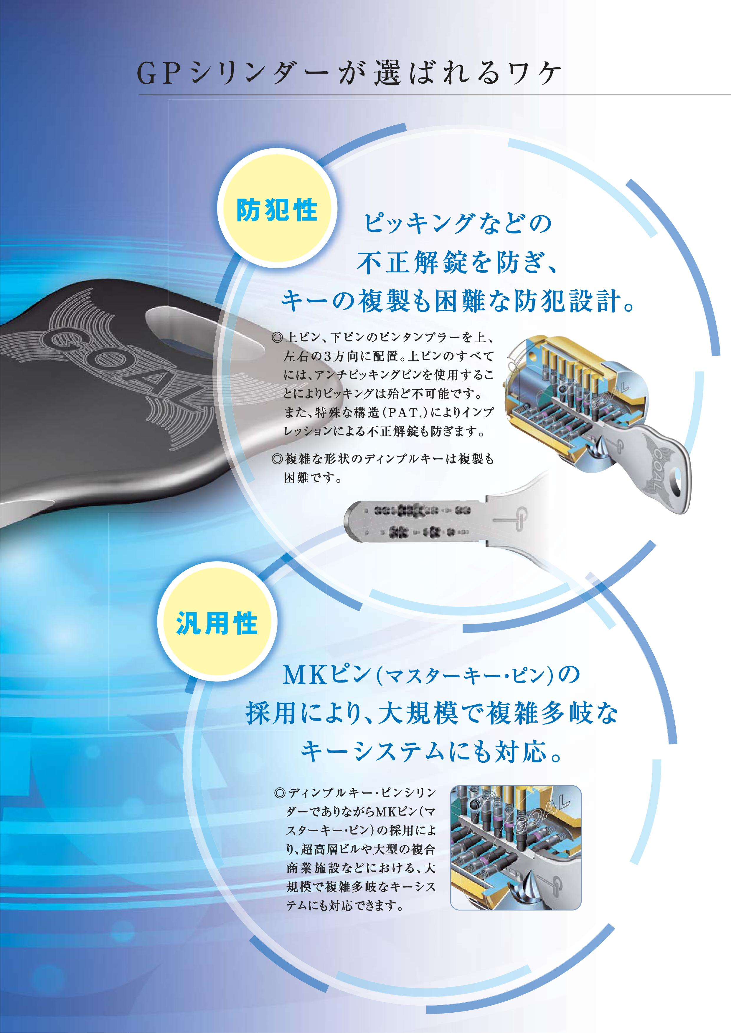 GOAL社「GPシリンダー」標準キー3本付き